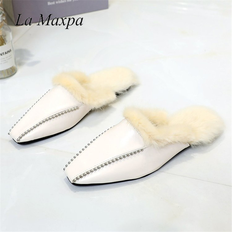 Cálido Puntiagued Slide Mule Mulas Mujer Beige Slides Cristal Blanco De Zapatillas Slippers Mules 2019 Slip Conejo Moda Zapatos black On Planos Toe Mujeres Piel Negro XqIwxfxO5