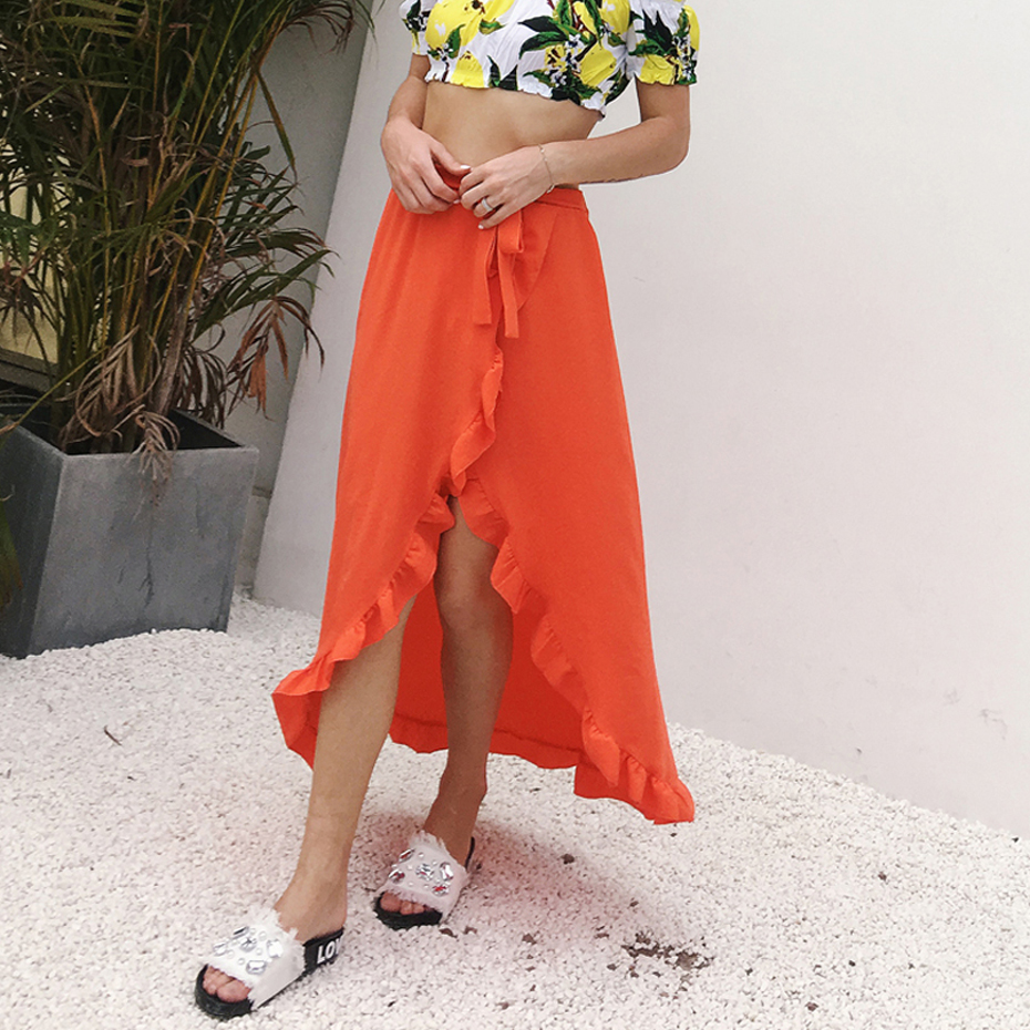 Summer Sexy Women Long Skirts Cotton Saia Elastic Waist Maxi Skirts Beach Boho Vintage Summer Skirts Faldas Saia Flounce Skirt
