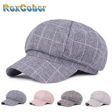 RoxCober женщин плед кепка газетчика восьмиугольная шляпа Шапки плоской подошве в стиле ретро шапки chapeau модные шикарные шляпа для путешествия gorras Планас 012