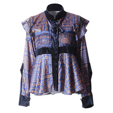 2019 Spring women's stand collar ruffles Shirts Chic floral print long sleeves blouses G022