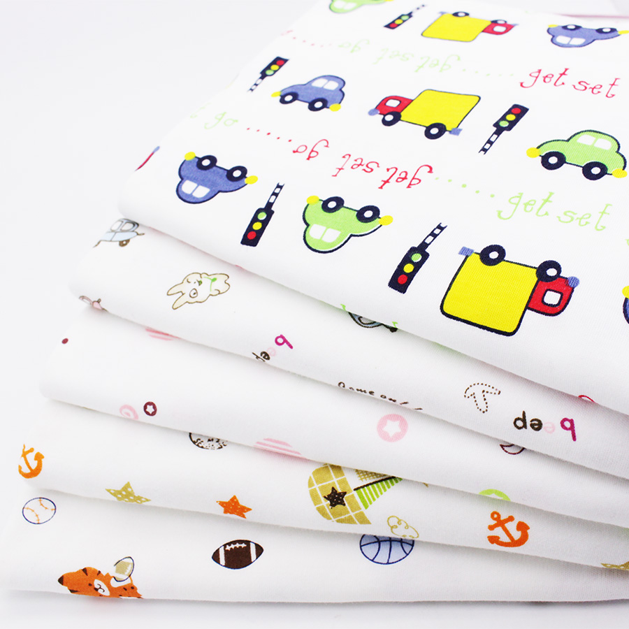 Baby fabric elastic cartoon printed cotton knitted fabric for Knit fabric childrens prints