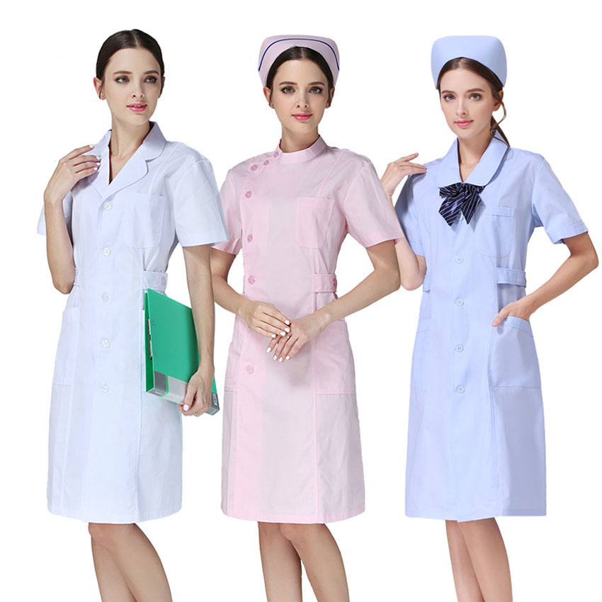 Women Medical Uniform Doctor Nurse Costumes Dentist Hospital Clinic Lab Wear High Quality Free Print Scrub Coat Women Clothing