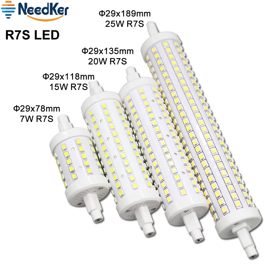 360 Degree <font><b>R7S</b></font> <font><b>LED</b></font> Bulb 7W 15W 20W 25W <font><b>LED</b></font> Corn Light 78MM 118MM <font><b>135MM</b></font> 189MM AC 110V 220V 240V <font><b>LED</b></font> Light Replace Halogen Lamp image