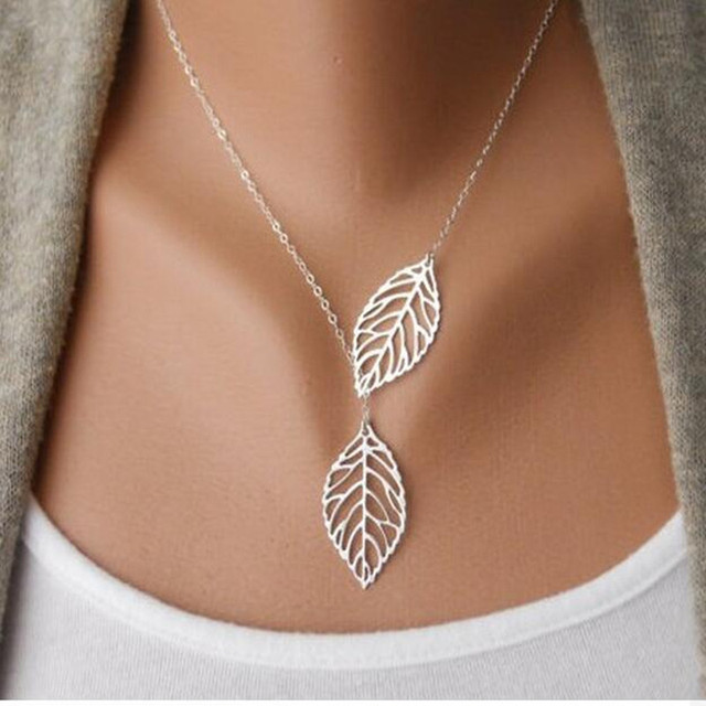 2016 Hot Fashion Gold Silver Plated Chain Necklace Leaf Casual Beads