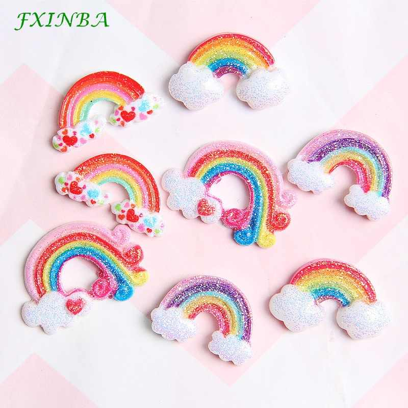 FXINBA 1/3/5/10pcs Glitter Rainbow Unicorn Charms For Slime DIY Ornament Phone Decoration Charms Lizun Clay Slime Supplies Toy
