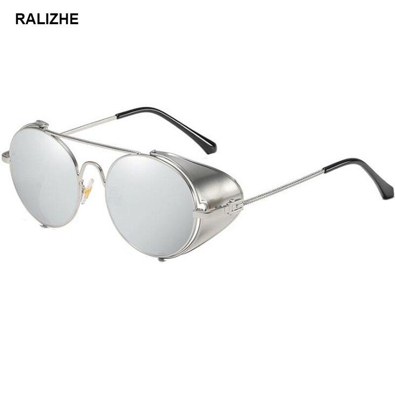 Round Side Shield Steampunk Goggles//Sunglasses Silver MIrrored Reflective UV400