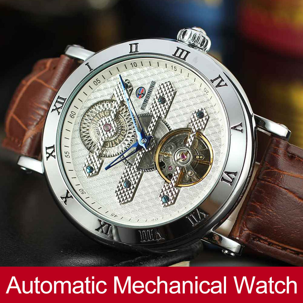 Forsining New Automatic Self-Wind Men's Watch Genuine Leather Strap Skeleton Hot Sale Wristwatch Gift Box k colouring women ladies automatic self wind watch hollow skeleton mechanical wristwatch for gift box
