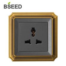 BSEED Multifunction Universal 5 Pin Wall Plug Socket Luxury Decorative Bronzed Series Outlet Free Shipping