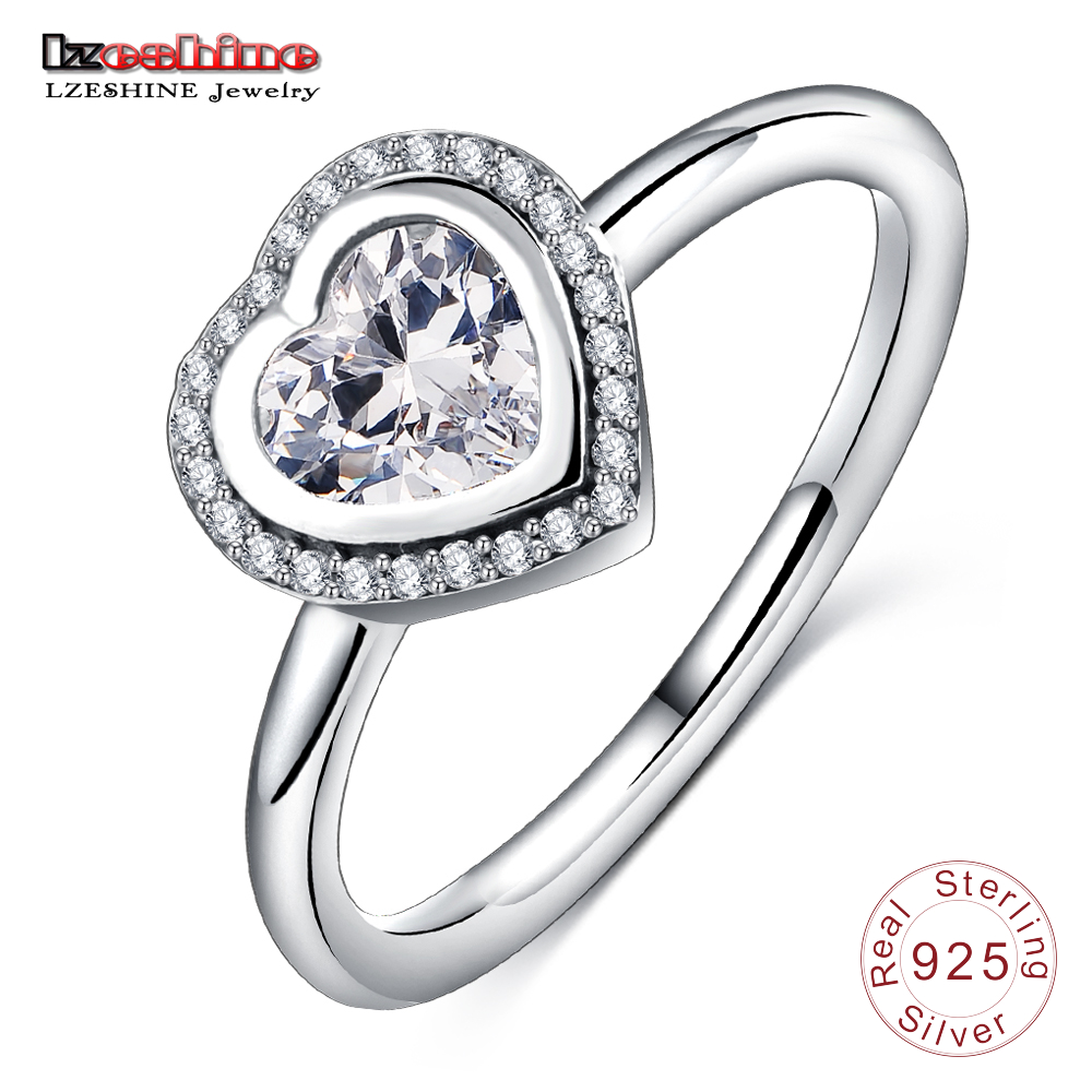 LZESHINE 925 Sterling Silver Sparkling Promise Ring Clear CZ Heart Shape Engagement Ring For Women Jewelry PSRI0016-B charming faux pearl embellished heart shape ring for women