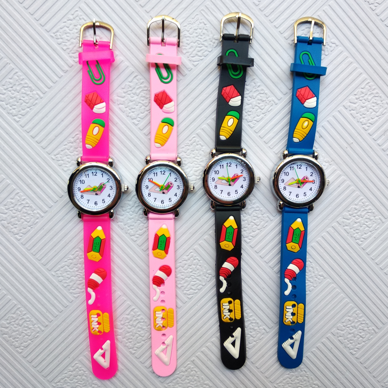 Student Clcok Arabic Numerals Children Quartz Watch Child Silicone Pencil Pattern Kids Wrist Watches For Girl Boy Christmas Gift