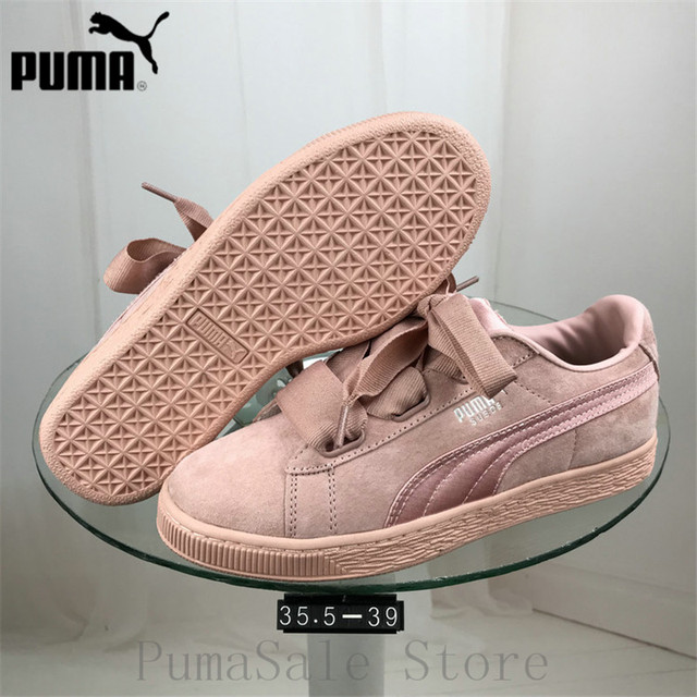 28cd846fb887 PUMA Women s Suede Heart EP Trainers Badminton Shoes 366922-01-02  Lightweight Sport Shoes Pink Black Color Sneaker Size 35.5-39