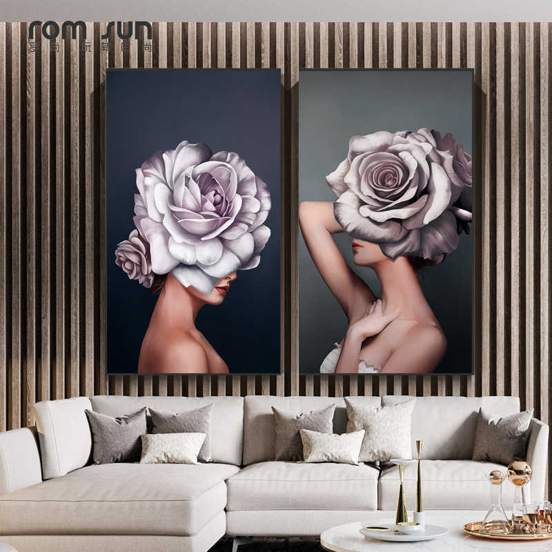 Abstract Art Painting Flower Girl Sexy Women Canvas Wall Decorations Painting And Print Modern Wall Art Pictures For Living Room