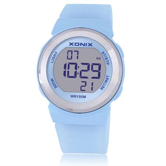 Горячая!!! XONIX Моды для Женщин Спортивные Часы Водонепроницаемые 100 м Дамы Желе СВЕТОДИОДНЫЕ Цифровые Часы Плавание Дайвинг Рука Часы Montre Femme