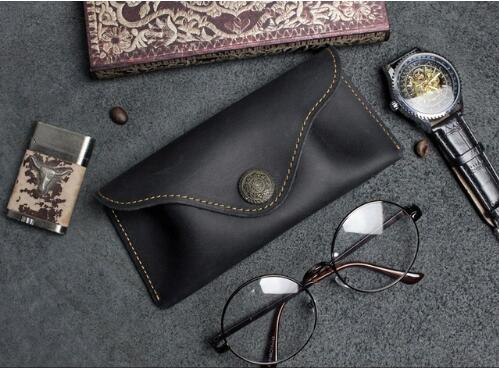 6601 6606 Handmade Leather Glasses Box Geniune Layer Cowhide Retro Glasses Bag Sunglasses Case Leather Soft
