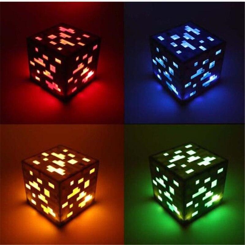 Minecraft Redstone Minério De Noite Lâmpada Azul Pedra de diamante Quadrados luzes Da Noite AA fonte de Alimentação Da Bateria Levou Brinquedos Para As Crianças Presentes iluminação