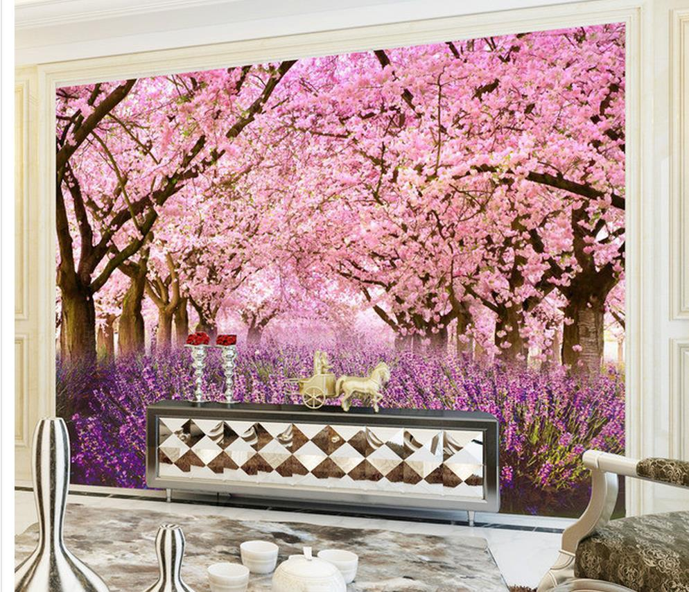 3d Customized Wallpaper Home Decoration 3d Cherry Blossoms Lavender Background Wall Wallpaper For Painting