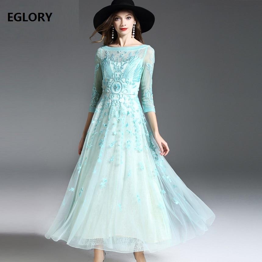 New 2018 Spring Summer Luxury Fashion Party Wedding Women Long Dress Appliques Embroidery Beading Elegant Maxi Dress Tunic XXL pearl beading tie cuff tunic dress