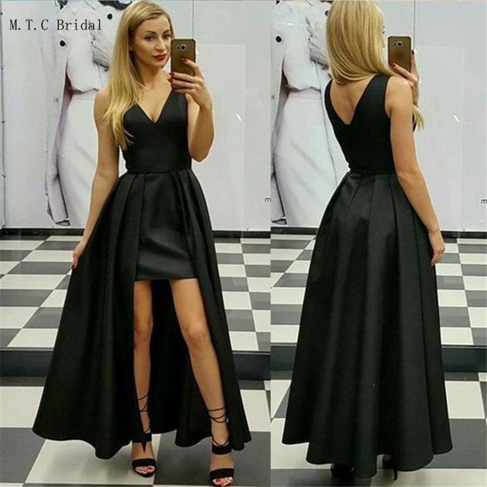 Noir longues robes de bal 20149 haute qualité col en V gaine longueur de plancher Satin robes de soirée pas cher robe de demoiselle d'honneur