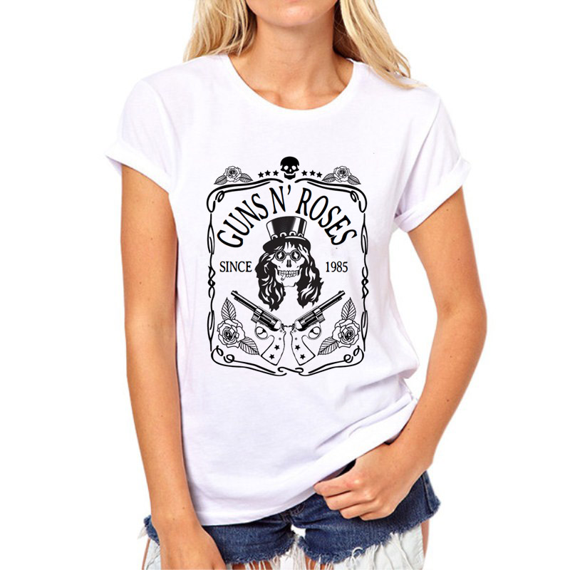 2018 Gun Roses Punk Rock Print T Shirt Spring Summer Silhouette Streetwear Casual Letter T-shirt Women Tees Tops 77N-13#