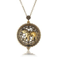 1 pcs Personality Design Magnifying Glass Pendant Necklace Antique Gold Chain Elephant shaped vintage Pendant Necklace female