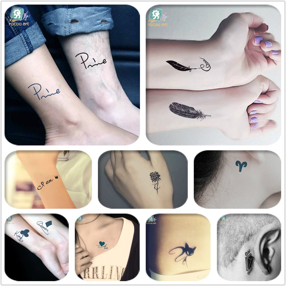 Us 3 59 10 Off Mixed 8 Sheets Traditional Small Tattoo Designs Black Tatoo Fake Body Temporary Tattoos Unique Feather Fox Tattoos For Girls In