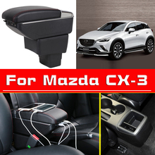 Leather Car Armrest  For Mazda  CX-3 Centre Console Storage Box beige center console armrest storage box elbow supporting armrest for mazda 3 mazda 6 cx 5 cx 7