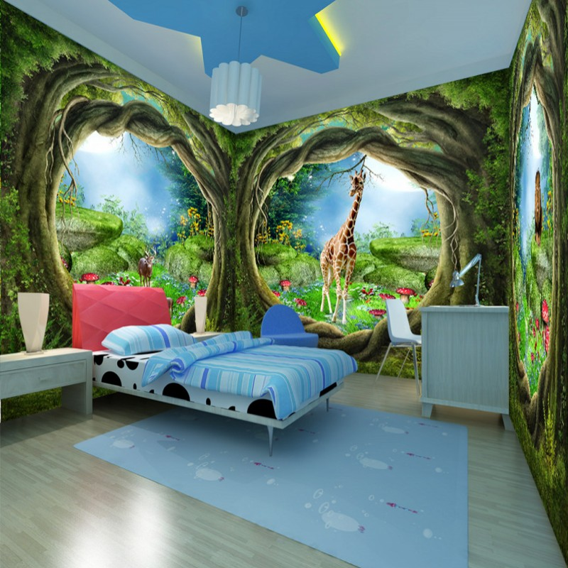 Compare Prices on Forest Themed Bedroom  Online Shopping Buy Low   Free Shipping 3D three dimensional dream Fairy Tale Forest Tree House theme  murals bedroom backdrop. Forest Themed Bedroom. Home Design Ideas