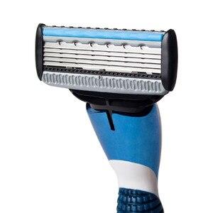 Image 5 - QShave Blue Series Blade Men Manual Shaving Razor Refill X5 Blade Plus 1 Trimmer Blade, 12 Cartridges (Only Blades No Handle)