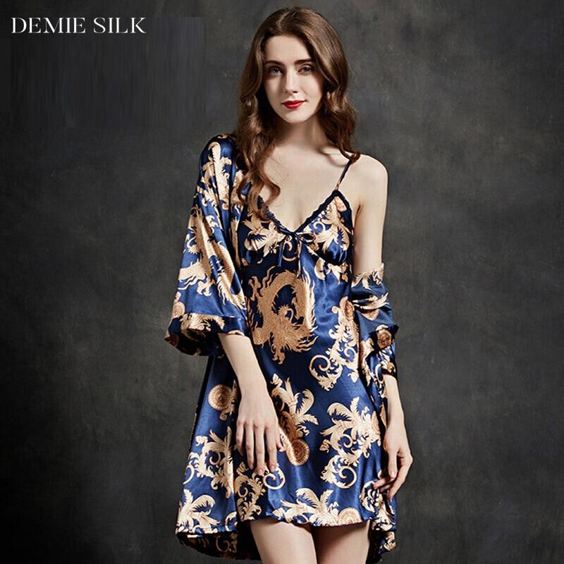 Demiesilk pijamas de seda de imitación de las mujeres del verano - Ropa de mujer