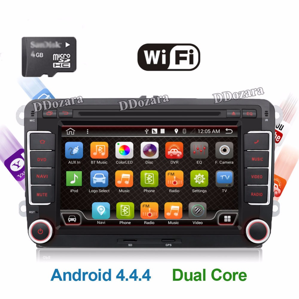 Quad Core Android 4.4 2Din 7 Inch Car DVD Player for VW GOLF 5 6 POLO PASSAT CC JETTA TIGUAN TOURAN EOS SHARAN SCIROCCO CADDY