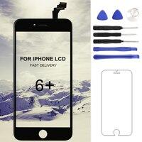 Para el iphone 6 Más LCD Con Pantalla Táctil Digitalizador Asamblea Ningún Pixel Muerto Reemplazo de Pantalla Smartphone de 5.5 Pulgadas Blanco Negro
