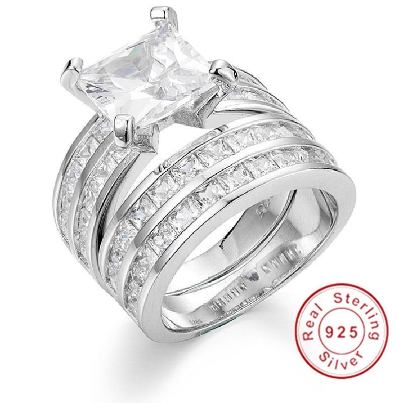 Bague de luxe en diamant simulé taille princesse 18ct pour femmes, bagues de fiançailles en argent Sterling 925, bijoux fins en pierre de naissance