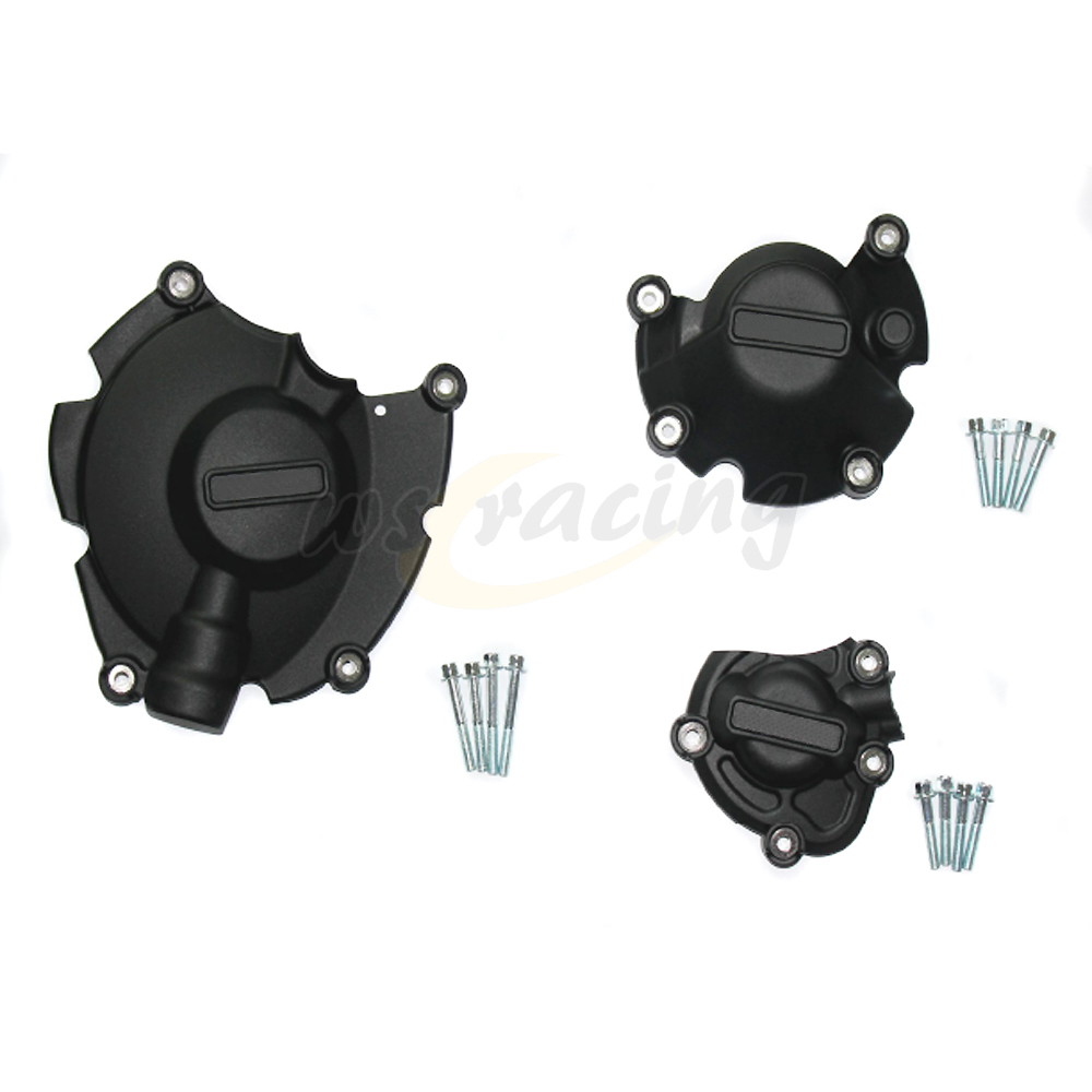Motorcycle Black Engine Cover Protection Case Set Kit For YAMAHA YZF R1 YZF-R1 2015-2016 MT10 MT-10 2016