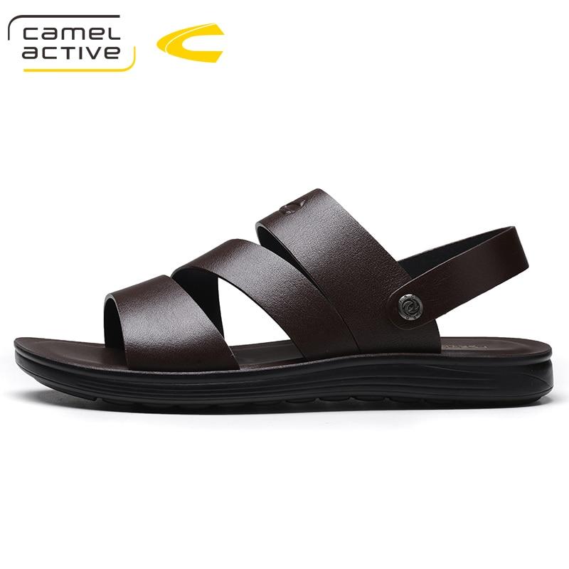 Camel Active Summer Roman Men Sandals Genuine Leather Sneaker Male Beach Elastic Slippers Native Rubber Sandals For Men hot sale