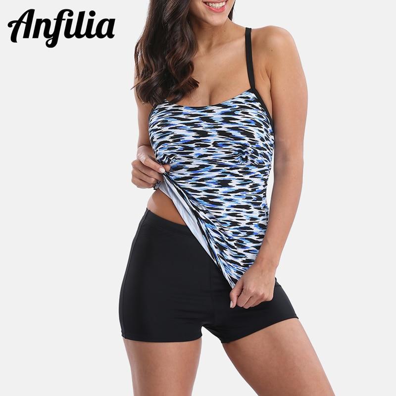 Anfilia Women Tankini Set Swimsuit Leopard Printed Swimwear Backless Bathing Suit Beach Wear Bikini Two-pieces
