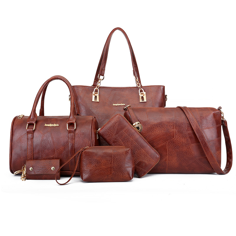6 en 1 pratique femmes sacs à main ensemble Top qualité sacoche en cuir synthétique polyuréthane femmes poche femme sac épaule sacs pour femmes 2018