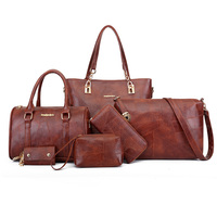 6 in 1 Practical Women Handbags Set Top Quality PU Leather Messenger Bag Women's Pouch Female Bag Shoulder Bags For Women 2018