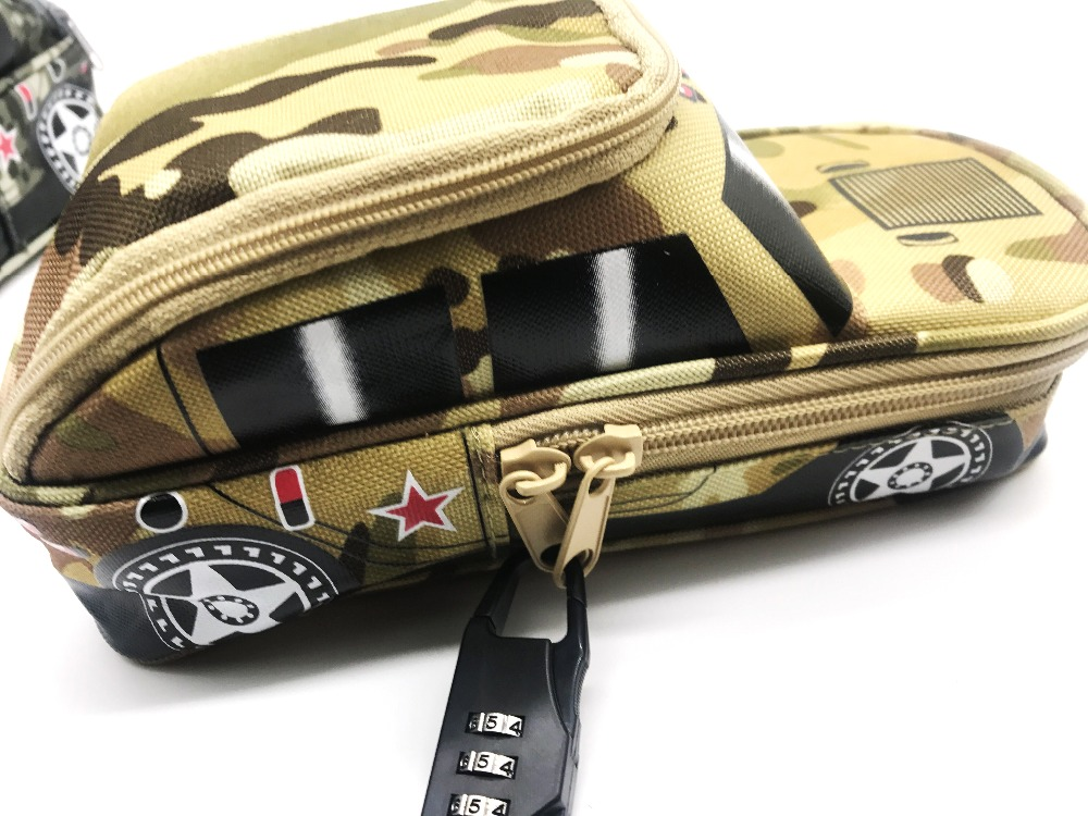 Portable Oxford Camouflage boy Car pouch Style large Pencil Case vehicle Bag Pen Holder School Supply with Combination Lock