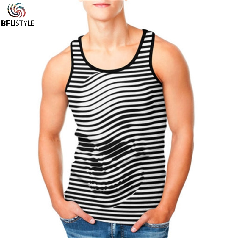 Bodybuilding   Tank     Top   Men Brand Clothing Fitness Men Workout Stringer Shirts 3D Vest Sportswear Undershirt Stripe Skull Tanktop