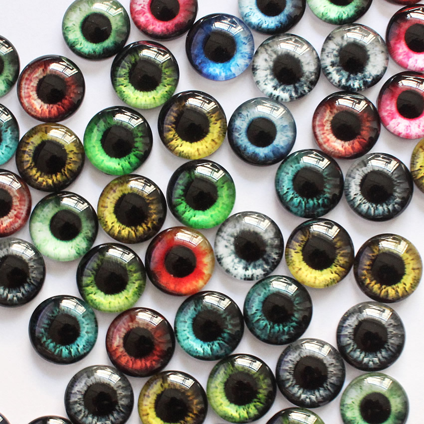 6mm Random Mixed Dragon Eyes Round Glass Cabochon Flatback Photo Cabochons For Charm Base Accessories By Pair 50pcs/lot K06139