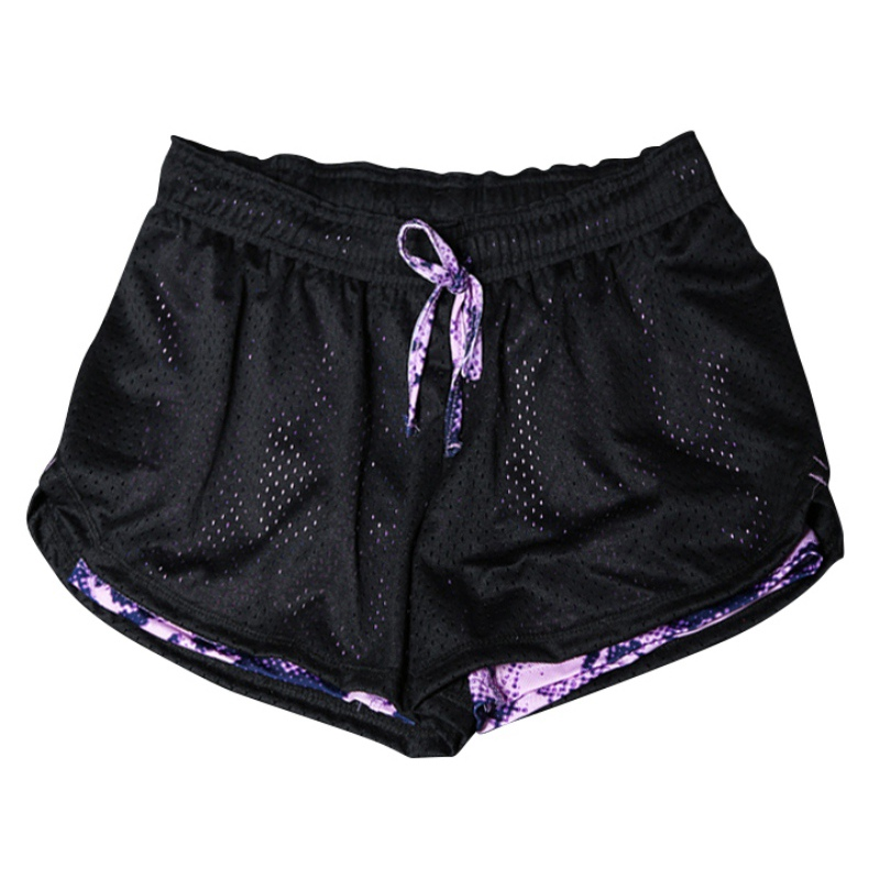 New Arrival 2018 Women Mesh Quick-drying Breathable Fitness Work-out Two Layer Fitness Fold   Shorts