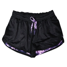Women Mesh Quick drying Breathable Fitness Work out Two Layer Fitness Fold Shorts