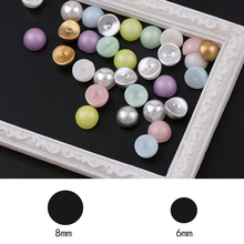 6mm 30Pcs 3D Mixed Color Matte Candy Concave pearls curved Top Level Beads DIY Nail Art Glitter pearls Manicure Decoration Tool