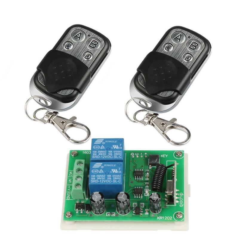 433 MHz RF 4 Channel Remote Control Learning Code 1527 Transmitter And 2 CH Relay Receiver Module DIY Wireless Garage Switch Set universal 433 mhz 2 channel remote control learning code 1527 relay receiver module wireless diy garage gate door switch dc 12v