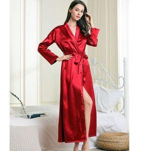 Image 4 - New Silk Kimono Robe Women Bathrobe Womens Wedding Bridesmaid Robes Sexy Long Robes Satin Robe Ladies Dressing Gowns