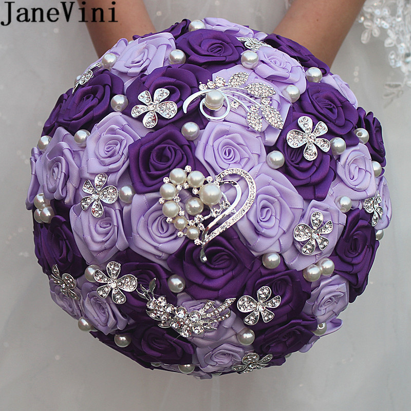 JaneVini Luxury Purple Rose Wedding Bouquet For Brides Crystal Satin Pearl Artificial Flower Wedding Brooch Bridal Bouquet Beads