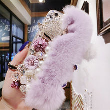 Warm Fluffy Rabbit Fur Bling Diamonds Pearl jewelry Case Cover For iPhone4s 5s 5c 6/6plus 7/7plus