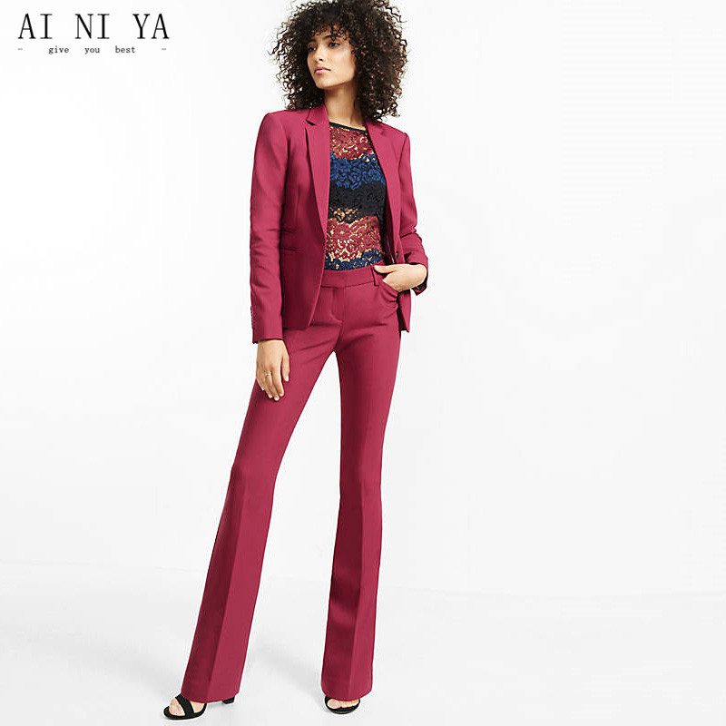 New Women Pant Suits Light Burgundy Notch Lapel Women Ladies Business Office Formal Tuxedos Jacket+pants New Female Suits Custom