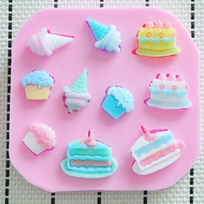 Cupcake Icecream Cake Baking fondant mold,resin clay chocolate candy silicone cake mould,fondant cake decorating tools