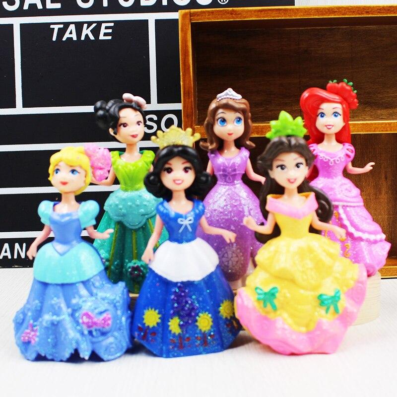 6pcs/set NEW hot Sofia Ariel Cinderella Princess Changeable Clothes Action Figure Doll Toy collectors With Magic Clip Dress